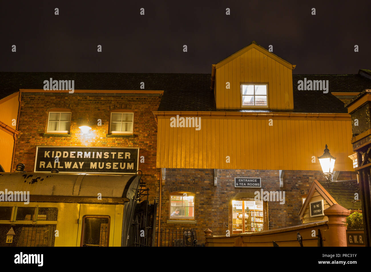 Severn Vlley Railway's Kidderminster station at night. Landscape shot showing signage and entrance to the Kidderminster Railway Museum. - Stock Image