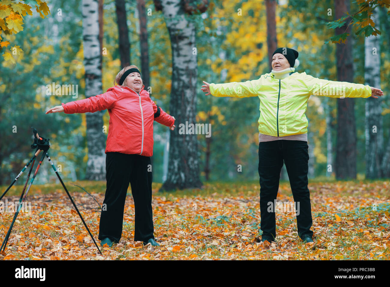 A mature woman performing warm-up in an autumn park after a scandinavian walk - Stock Image