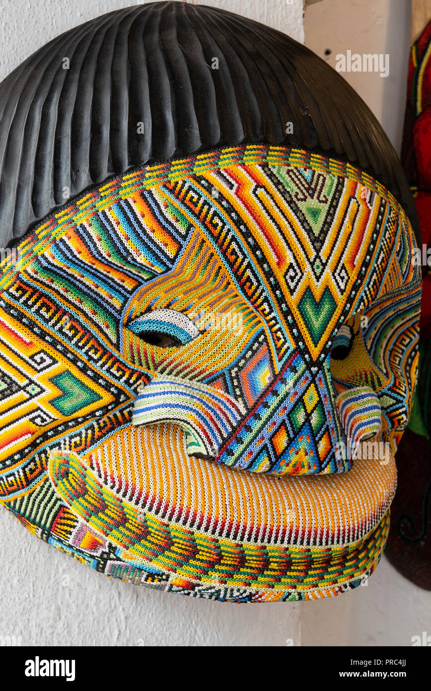 South America Colombia Cartagena Traditional Handicraft Souvenirs For Sale In Old Town Intricate Beaded Mask Each Bead Is Inlaid By Hand Stock Photo Alamy