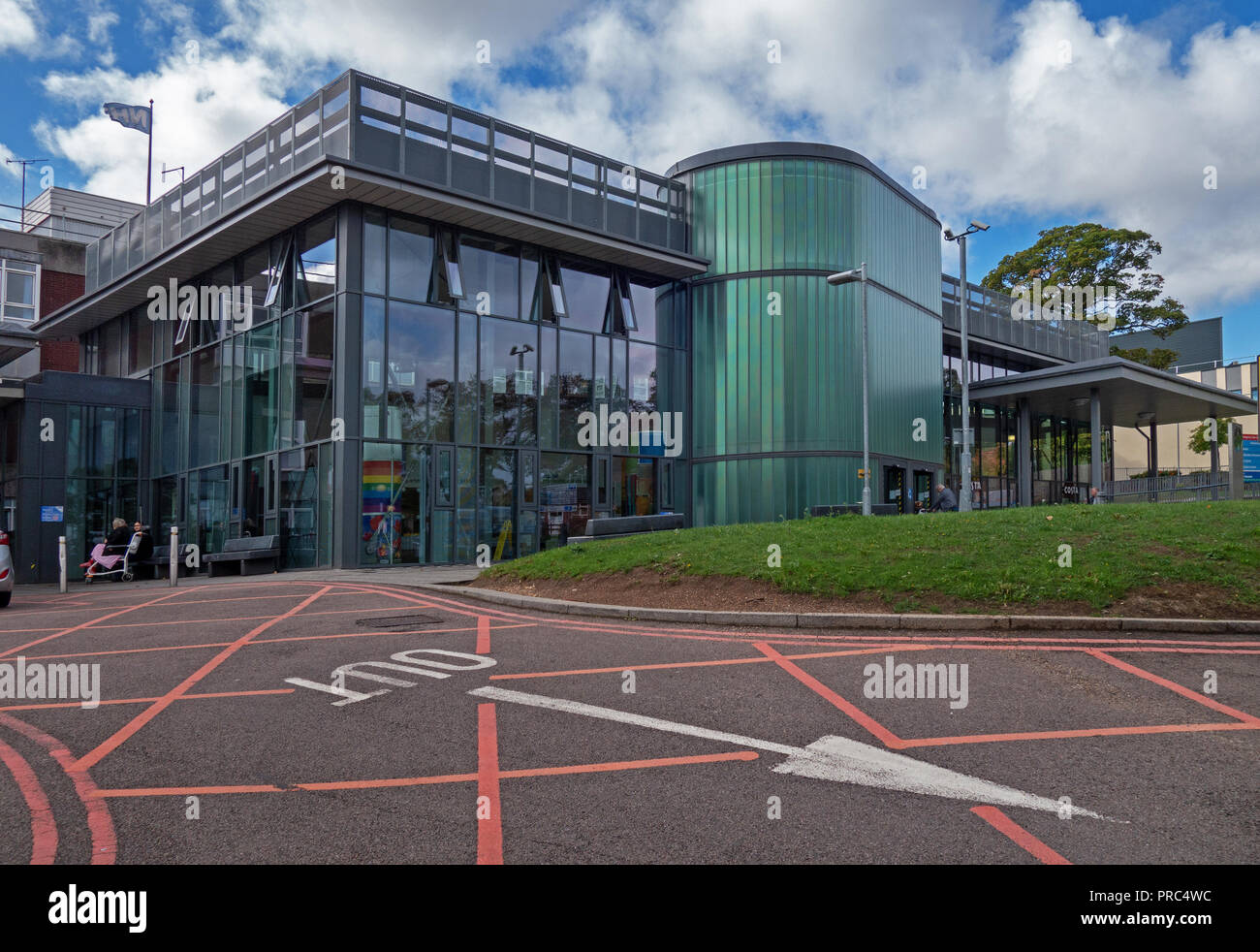Contemporary Main front elevation and entrance at the Rotherham NHS Trust Hospital - Stock Image