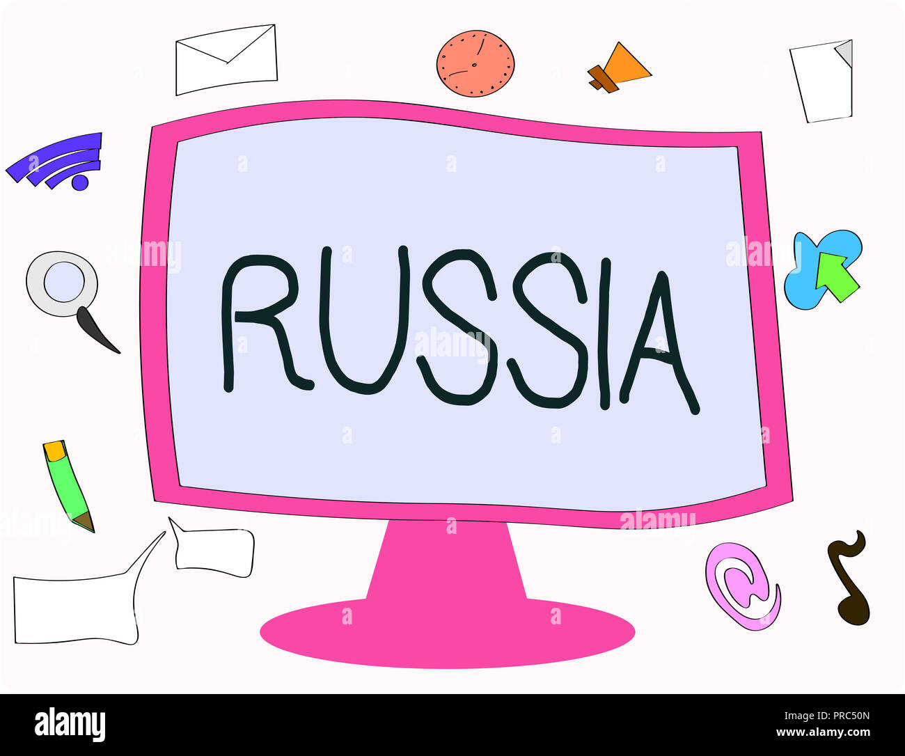 Writing note showing Russia. Business photo showcasing worlds largest nation borders European Asian countries and oceans. - Stock Image