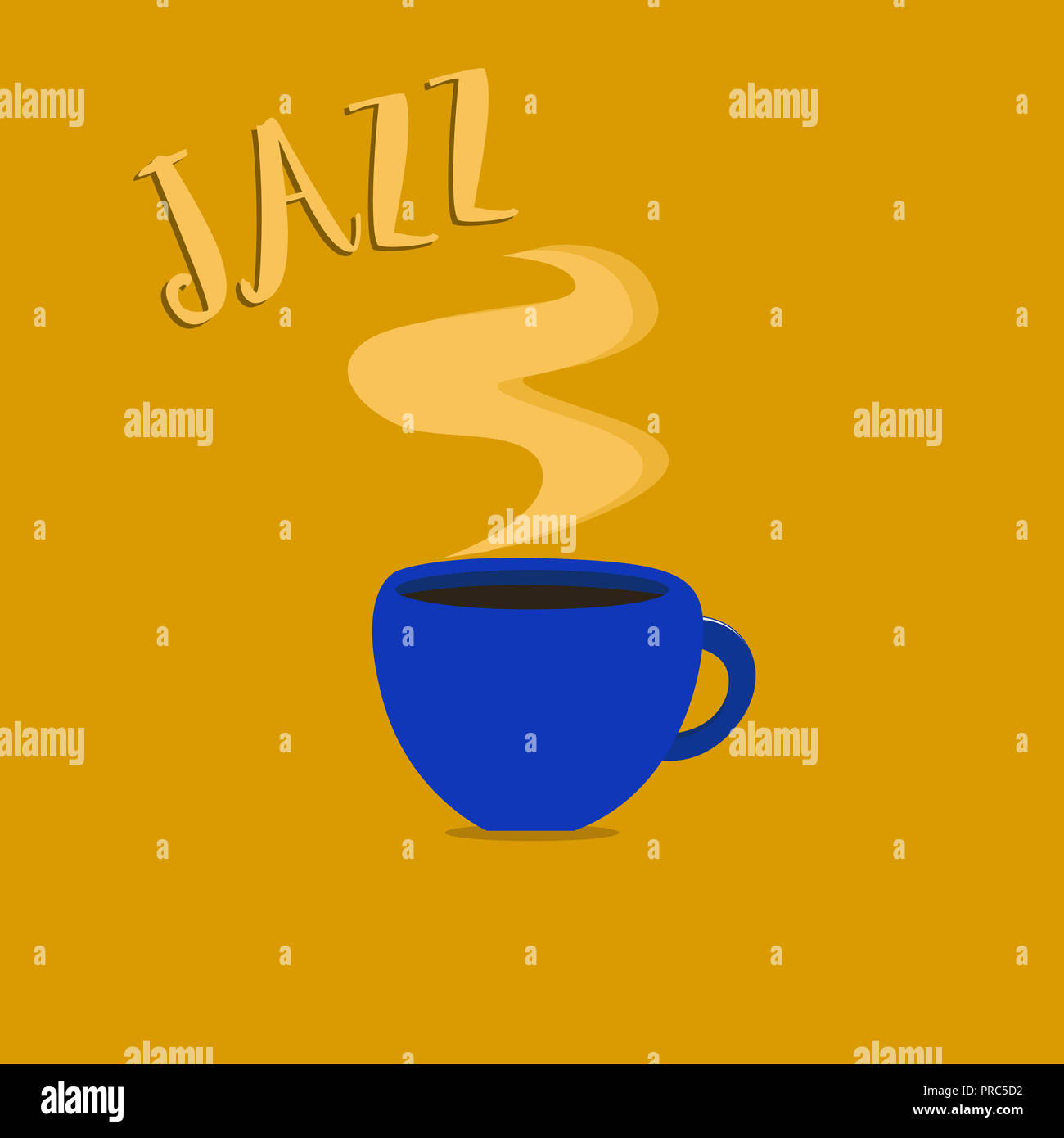 Handwriting text Jazz. Concept meaning Forceful rhythm Using brass and woodwind instruments to play the music. - Stock Image