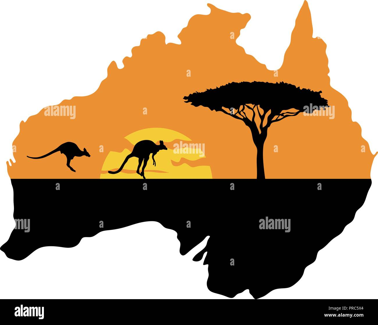 Kangaroos on the background of the setting sun - Stock Vector