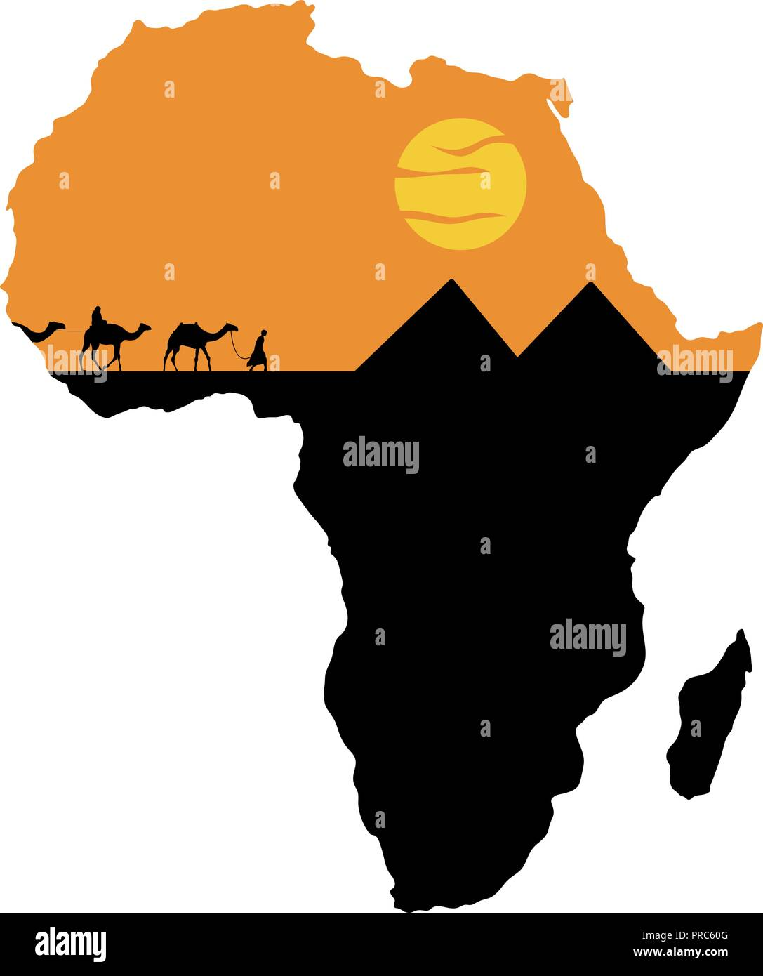 Caravan and pyramids on the background of Africa map - Stock Image