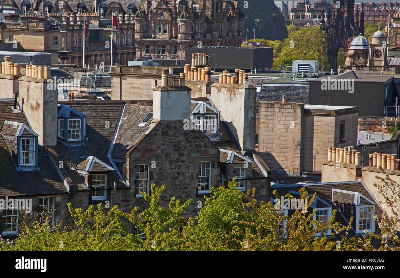 Edinburgh chimney pots - Stock Image
