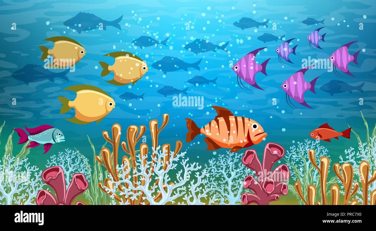 Underwater panorama Sea under water life cartoon ocean swimming