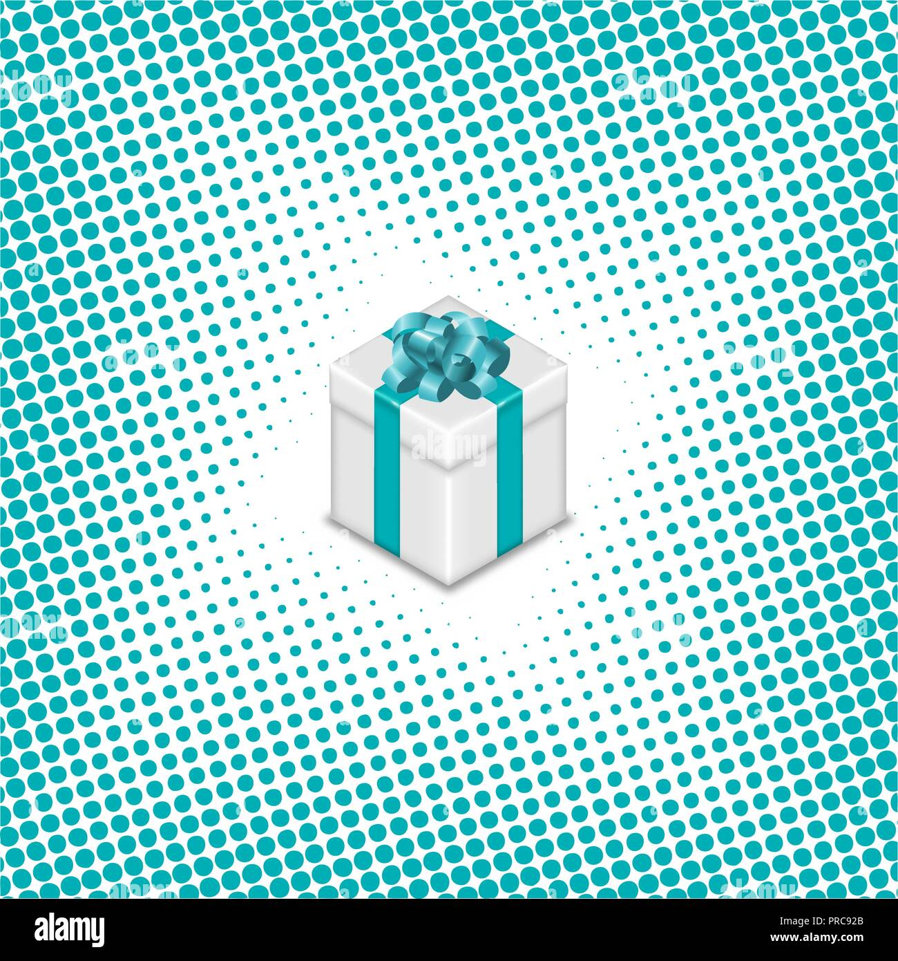 Gift box with ribbon and bow on halftone background, vector illustration. - Stock Image