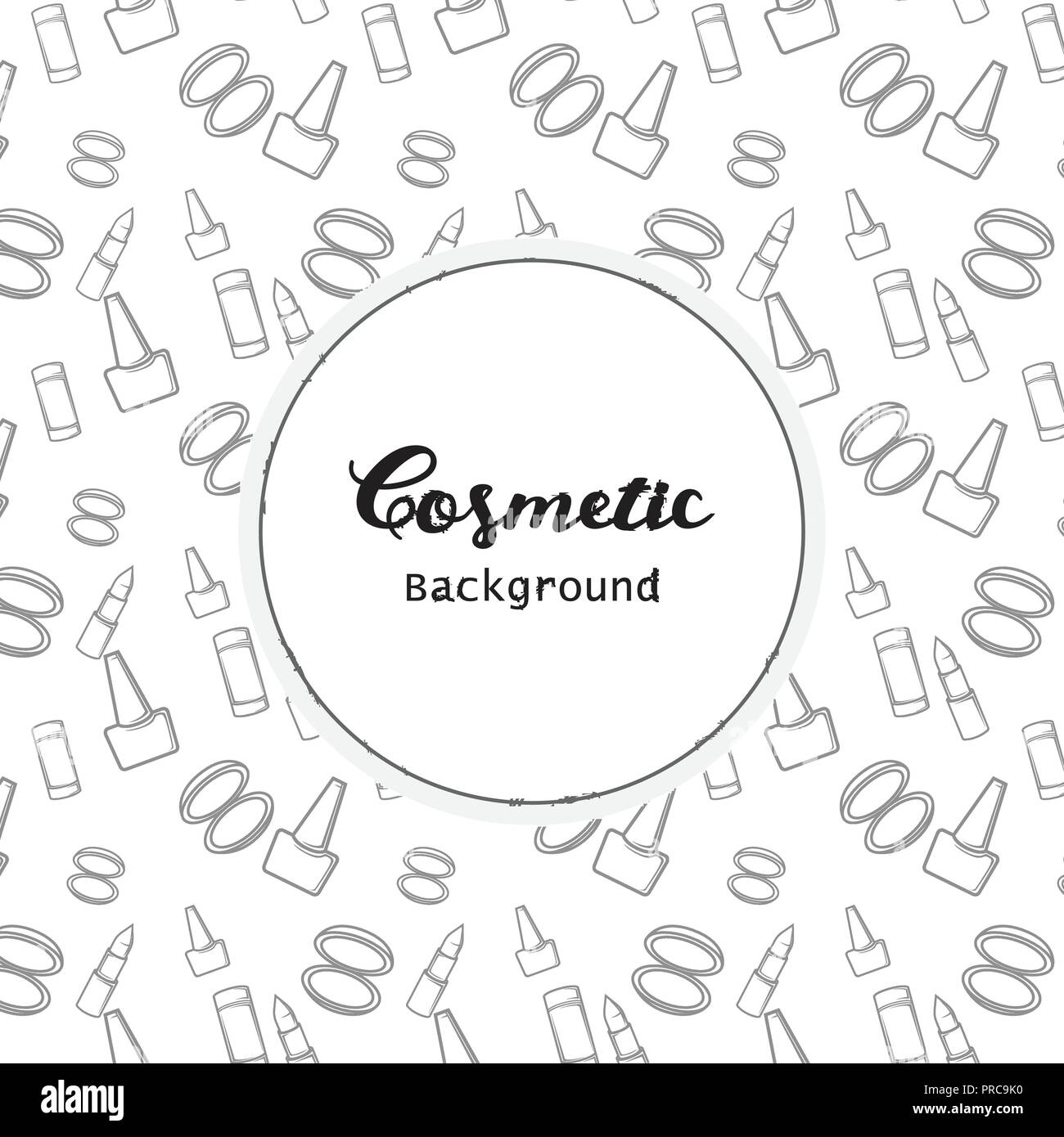 Cosmetic Background, Cosmetic Pattern Flat Lineart Icons Vector - Stock Image