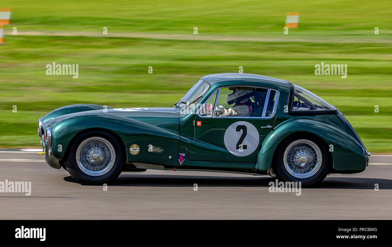 1953 Aston Martin DB3 Coupe. Arlette Muller.  2018 Freddy March Memorial Trophy, Friday qualifying. - Stock Image