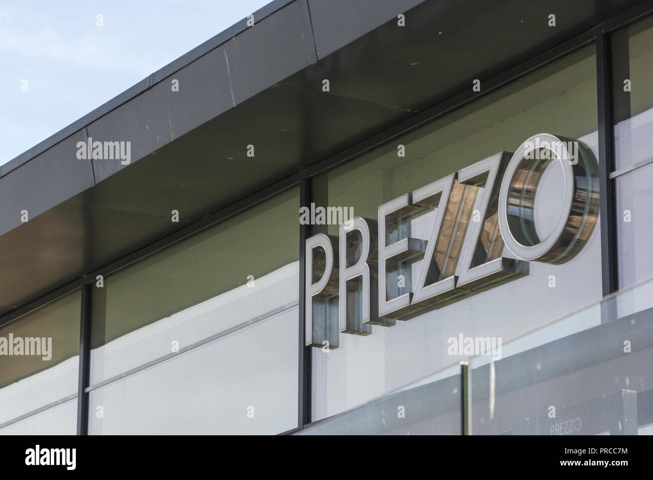 Scenes from around Newquay town centre, Cornwall. Closed PREZZO restaurant in Newquay. Casual dining sector crisis, casual dining concept. Stock Photo