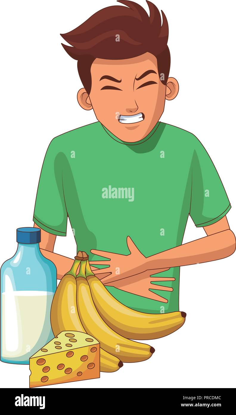 Young man with stomach ache - Stock Vector
