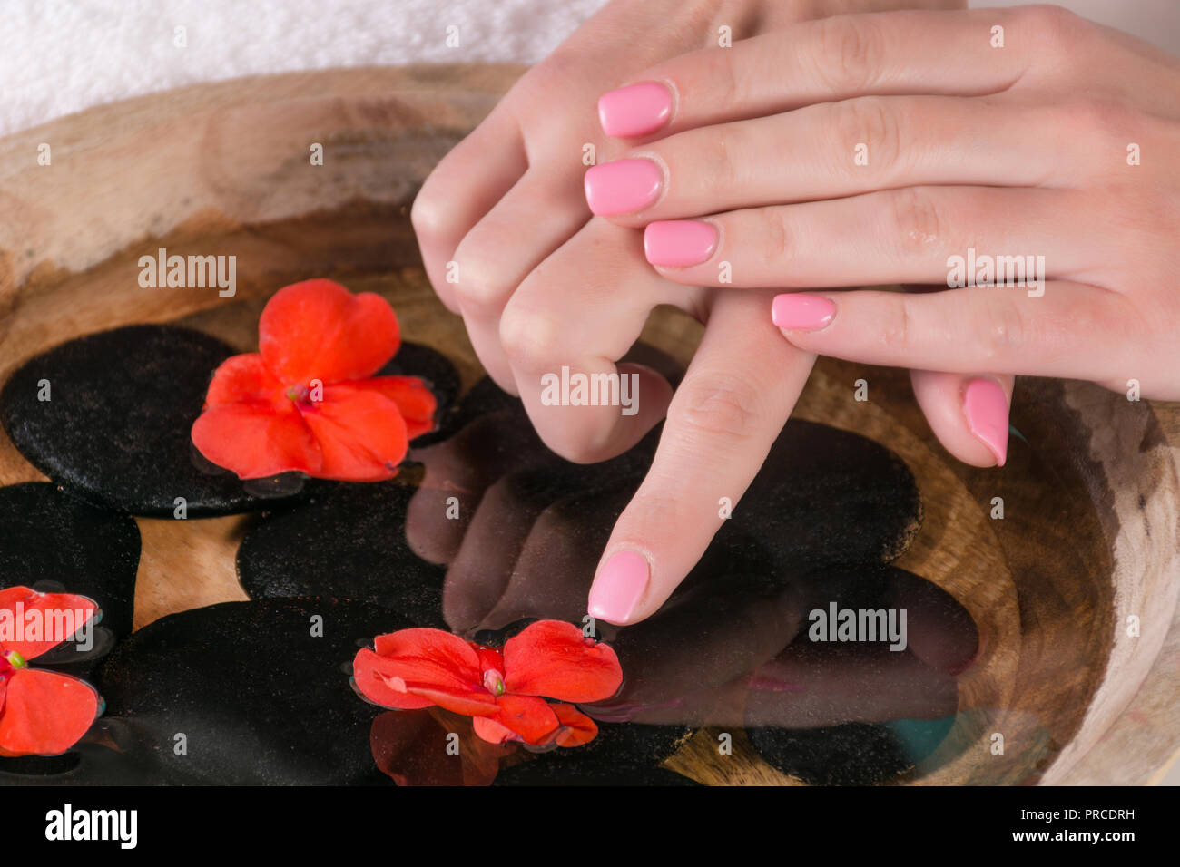Woman Finger With Pink Nails Gel Polish Touch Red Flower In Water