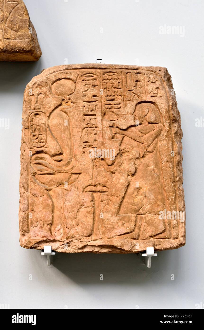 Stone stela of the Egyptian Viceroy of Kush, Seta. (c1200BC, from Wadi Halfa) British Museum, Bloomsbury, London, England, UK. - Stock Image