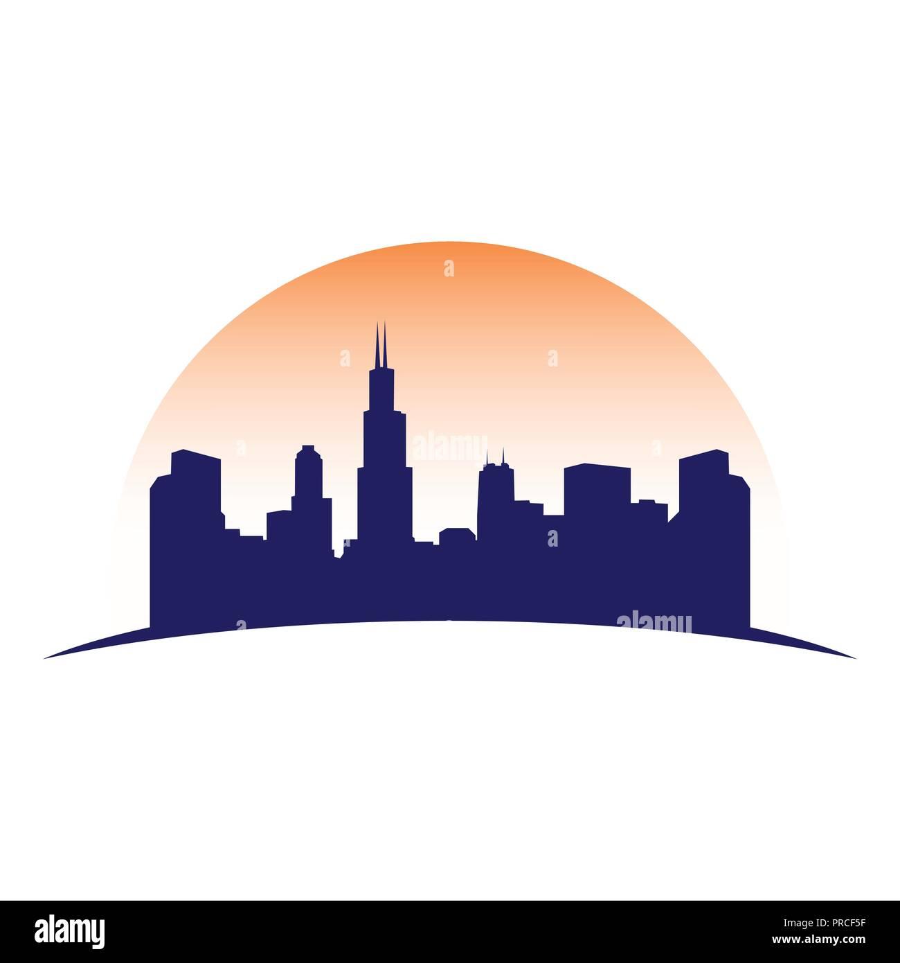 Urban City Skyline Silhouette Vector Symbol Graphic Logo Design Template - Stock Vector
