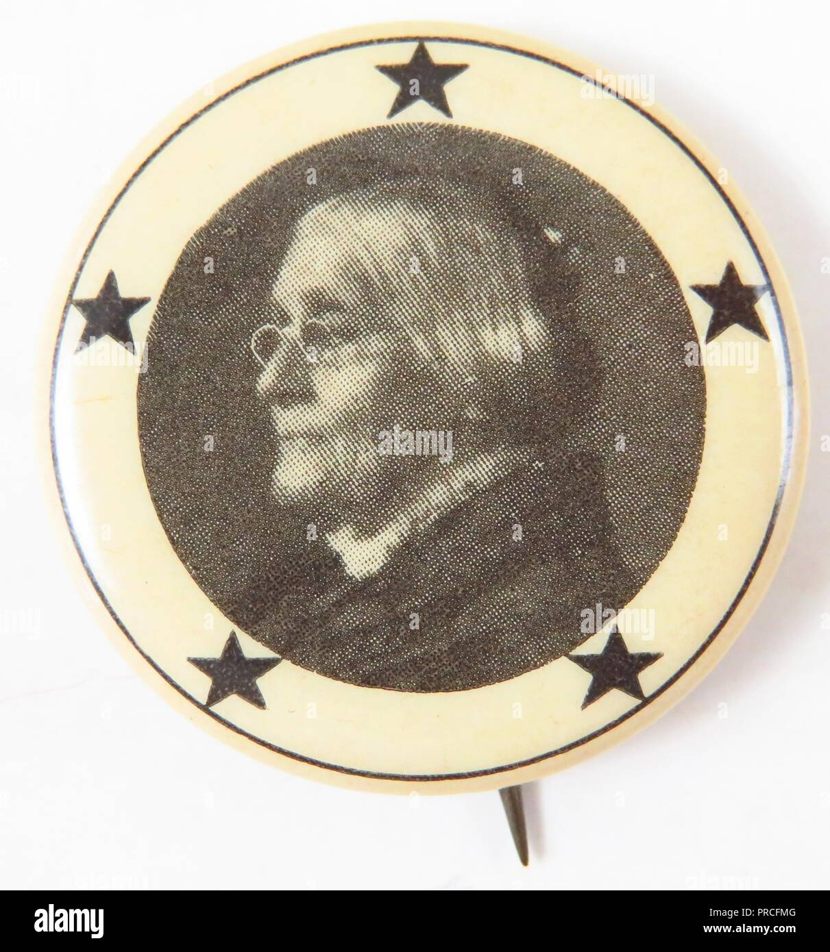 Black and white suffrage pin, with a portrait of Susan B Anthony, in profile, with five stars circling the portrait, celebrating Washington's successful suffrage campaign, making it the fifth state to grant women full access to the ballot, manufactured for the American market, 1910. Photography by Emilia van Beugen. () - Stock Image