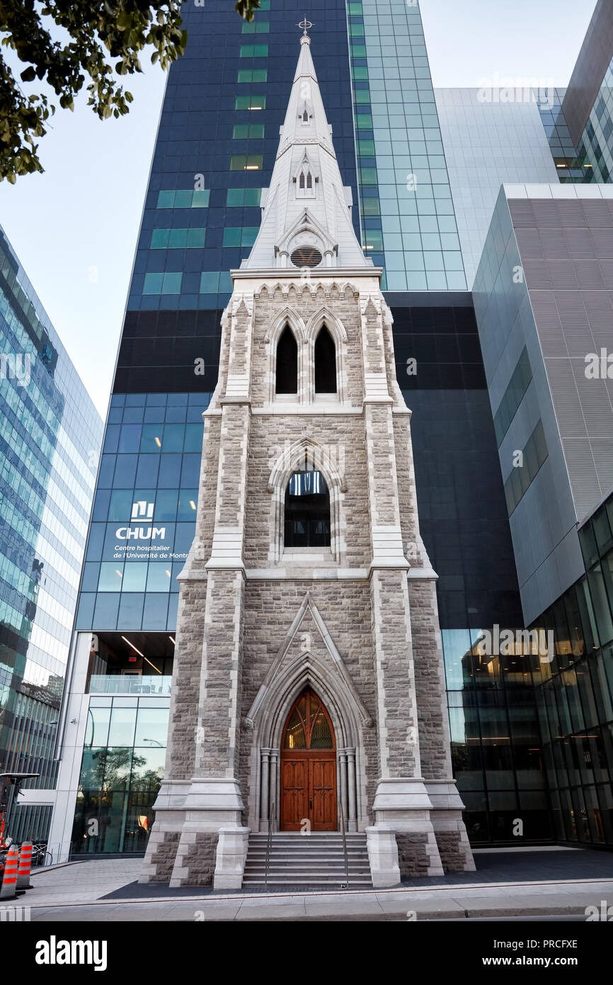 Bell tower of Saint-Sauveur Saint-Luc hospital on Saint-Denis street in Montreal, Quebec, Canada. Stock Photo