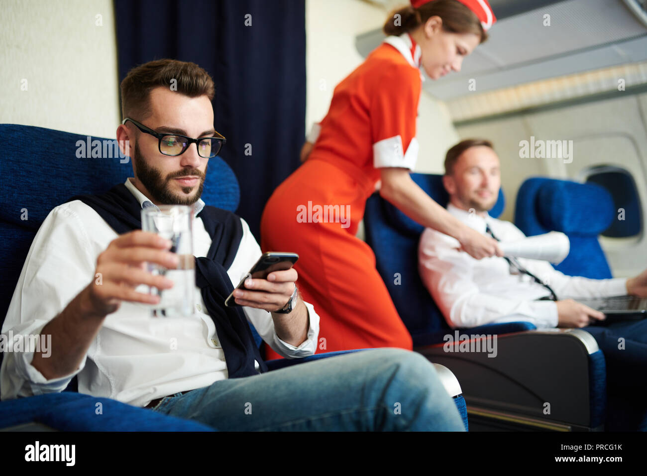First Class Section in Plane - Stock Image