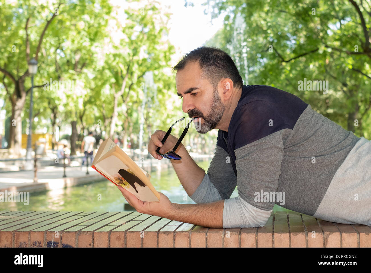 man lying in a park reading a book - Stock Image