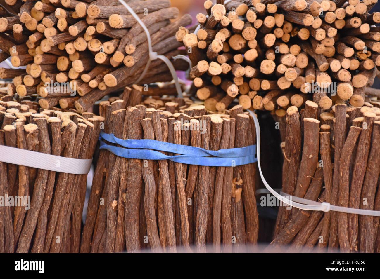 Exposure of liquorice roots. Stock Photo