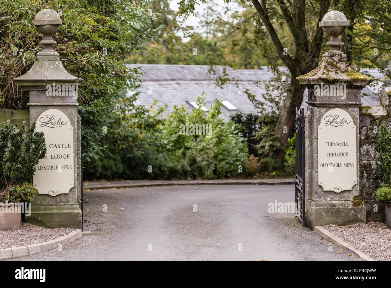 Entrance to the estate of Castle Leslie. Glaslough, County Monaghan, Ireland. - Stock Image
