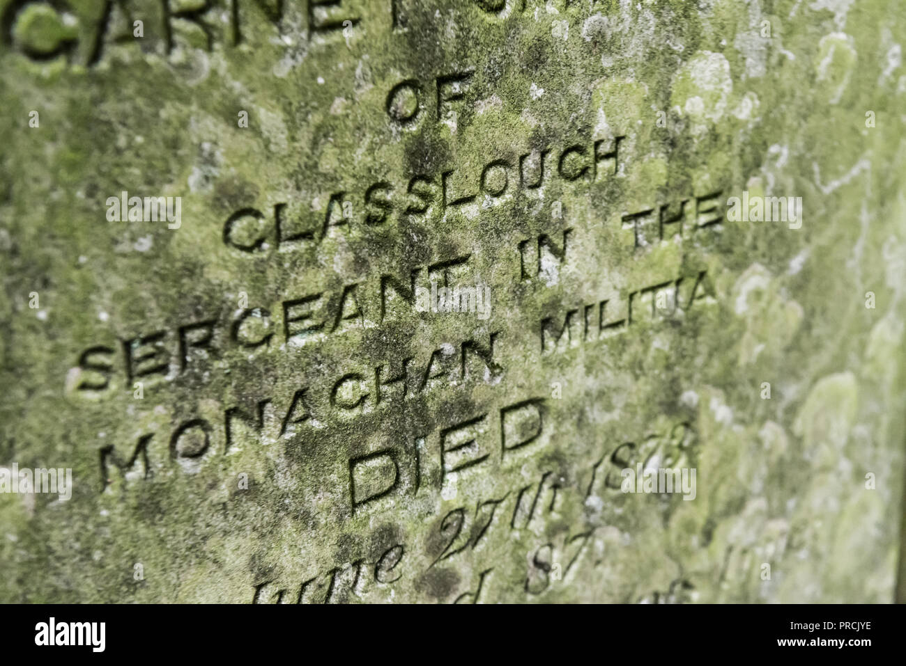 Gravestone of a sergeant within the Monaghan Militia, formed in 1973, Saint Salvator's Church of Ireland Glaslough, County Monaghan, Ireland. - Stock Image
