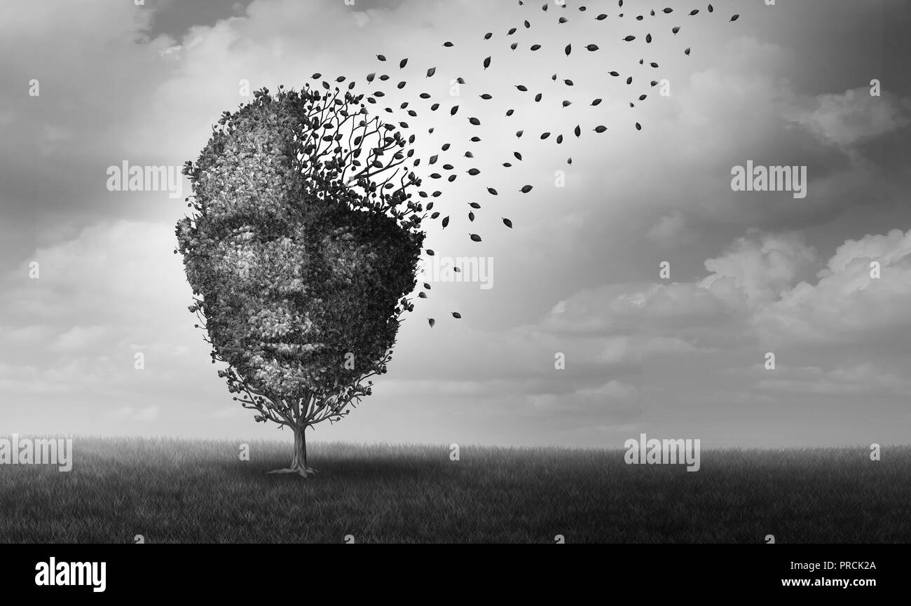 Mental health and personal crisis idea as a tree shaped as a face losing leaves as an anxiety and human stress symbol with 3D illustration elements. - Stock Image