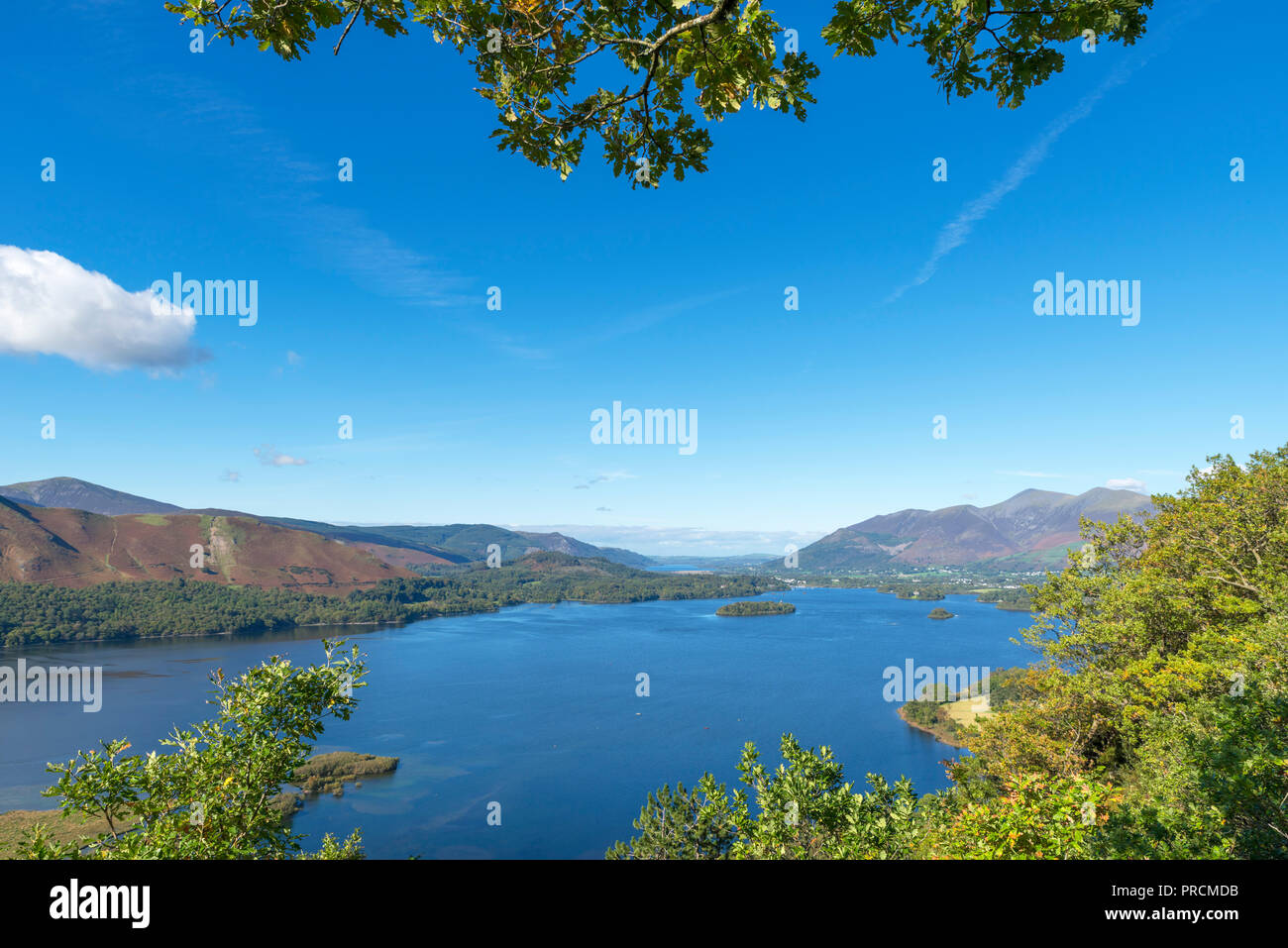 View over Derwentwater towards Skiddaw massif from Surprise View, Borrowdale, Lake District, Cumbria, UK - Stock Image