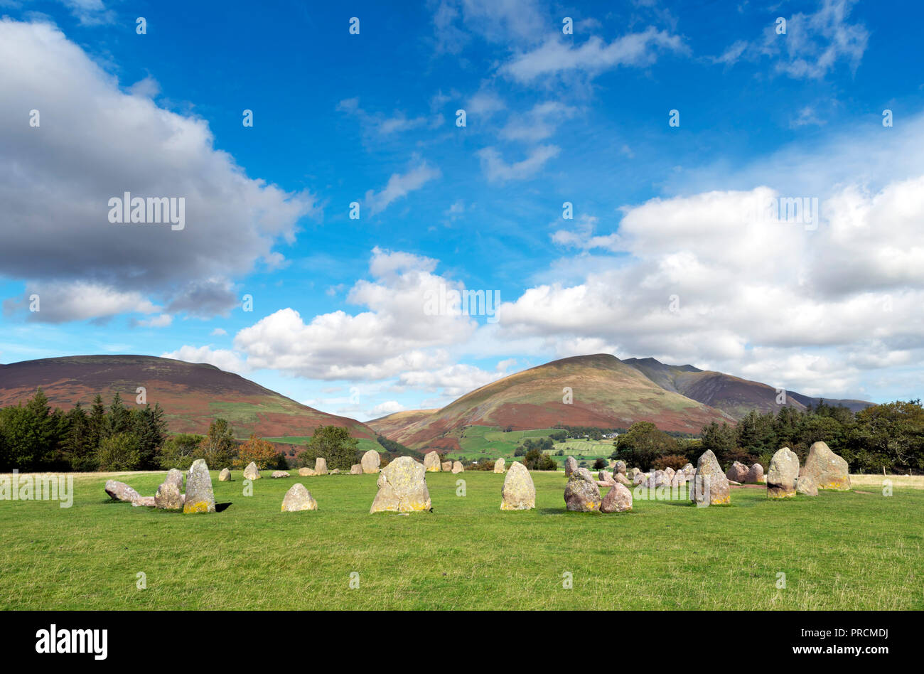 Castlerigg Stone Circle, a late neolithic to early bronze age site near Keswick, Lake District, Cumbria, UK - Stock Image