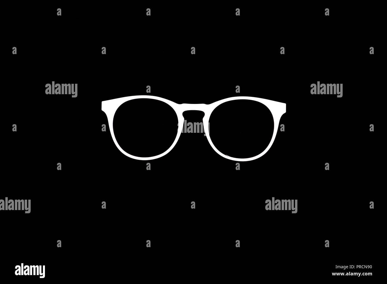 3f7ddec40a8 Graphic image of white sunglasses frames against black background - Stock  Image