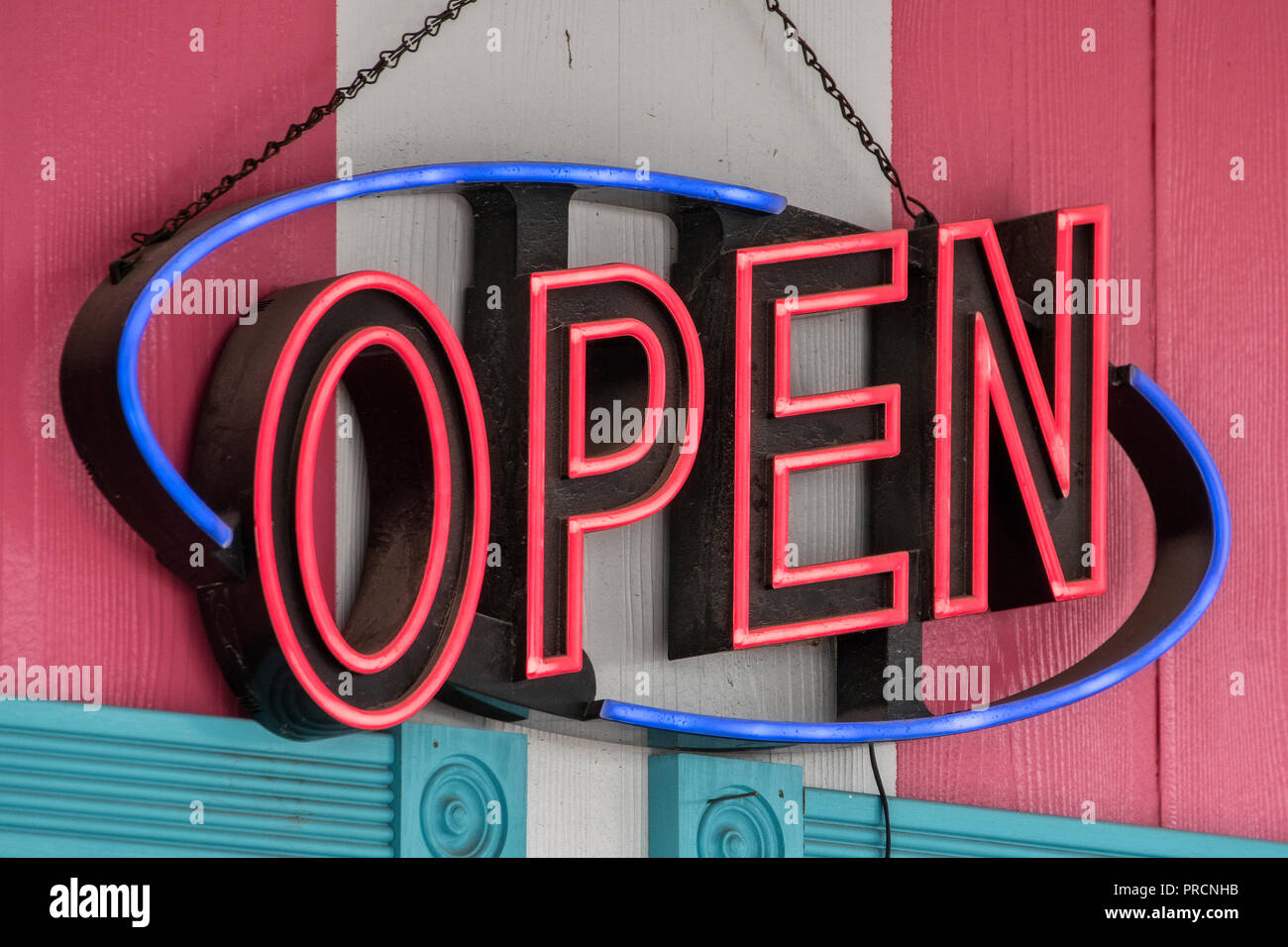 Neon sign 'Open' at the Twistee Treat Diner and Pink Elephant Antique Mall on Route 66, Livingston, Illinois, USA - Stock Image