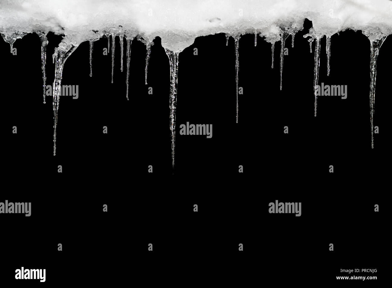 icicle isolated on a black background template for design set
