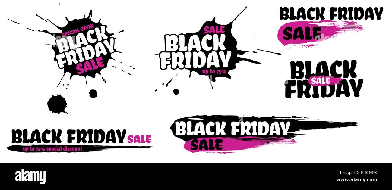 4aec904dd3a Black Friday Sale grunge sign set. Pink special offer text banner with  grunge black ink blob and smear isolated on white background. Vector