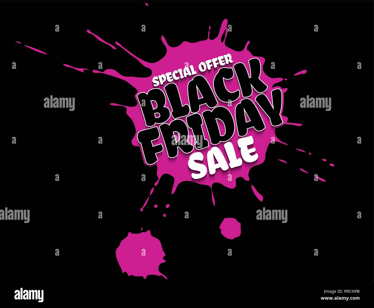 448b6db8119 Black Friday Sale grunge poster. White special offer text banner with  grunge pink ink drops isolated on black background. Vector illustration