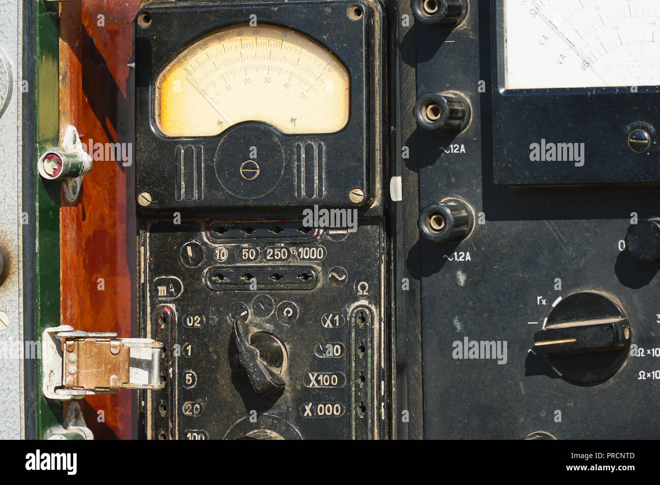 Old analogue multimeter with dial scale - Stock Image