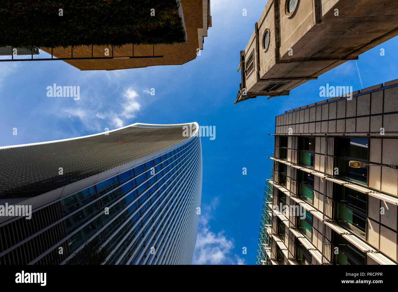 Four high-rise buildings - worm's eye view, Rood Lane near 20 Fenchurch Street London (Walkie-Talkie) - Stock Image