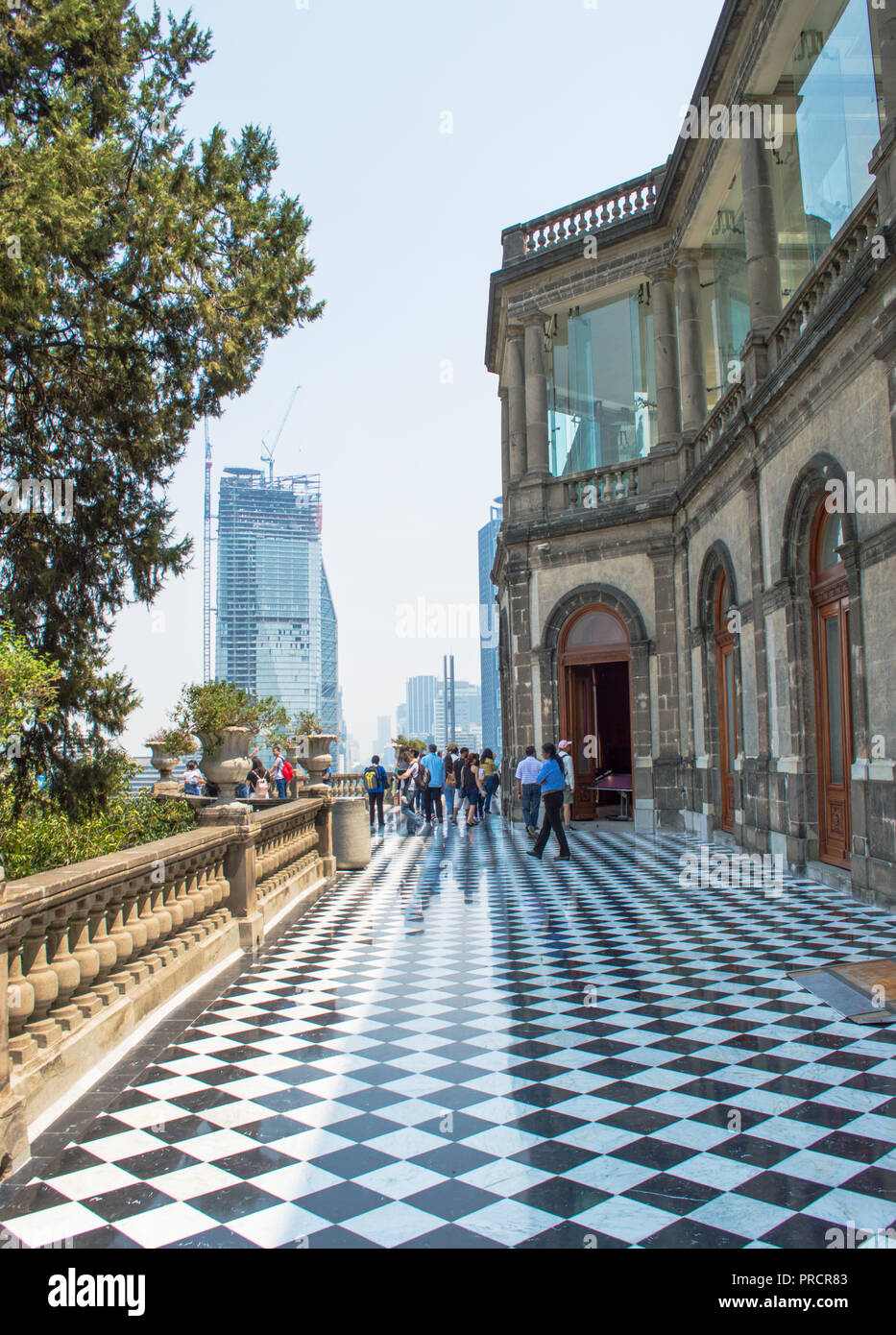 Hallway of the Chapultepec Castle, tall building in the back. Mexico City. - Stock Image