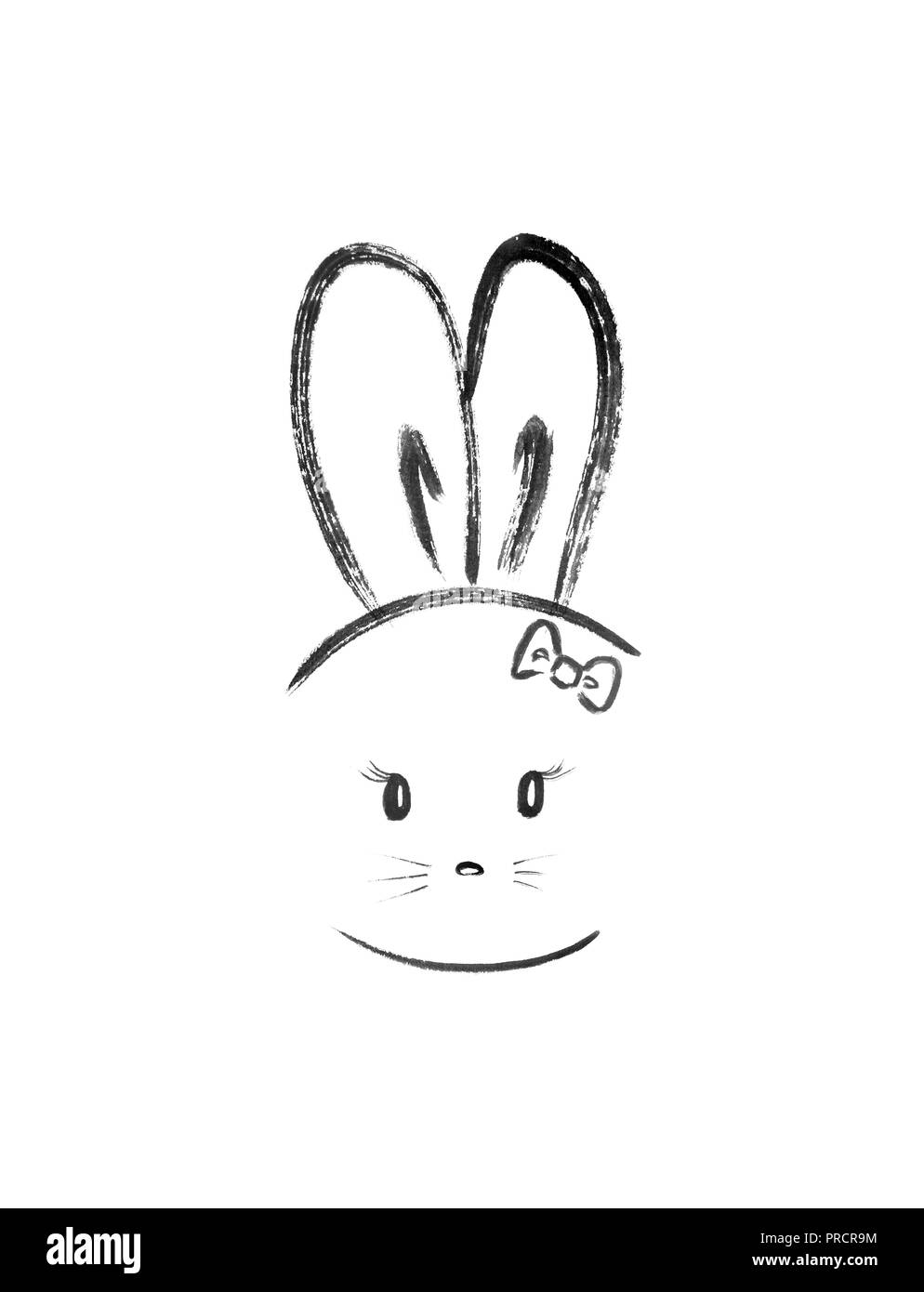 Cute bunny girl with long ears wearing a bow. Minimalistic kawaii style illustration, Japanese Zen Sumi-e artwork isolated on white background. - Stock Image