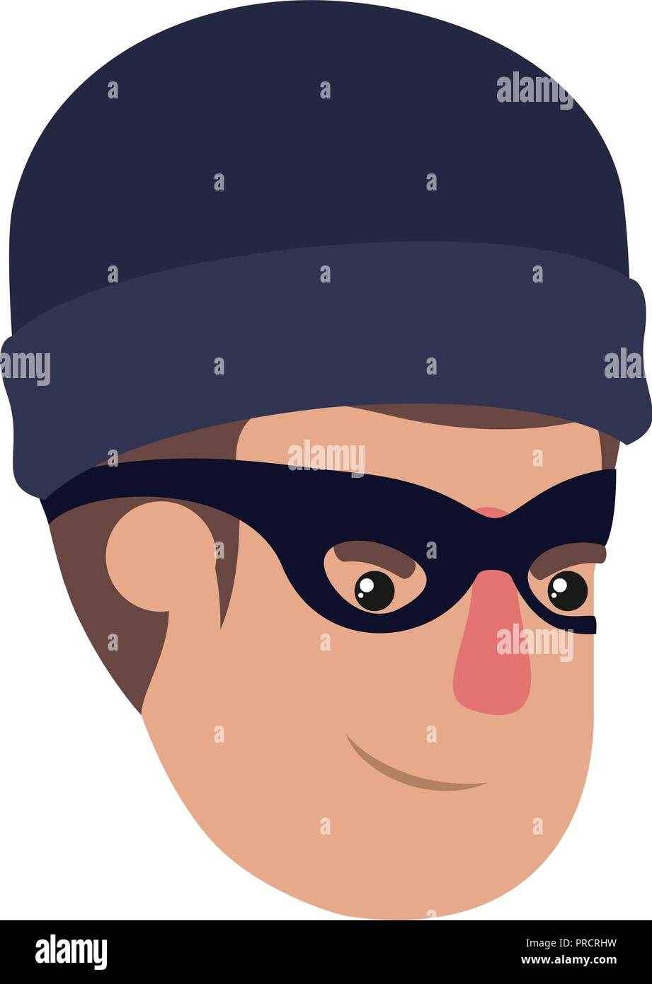 head of man with mask of thief avatar character - Stock Vector