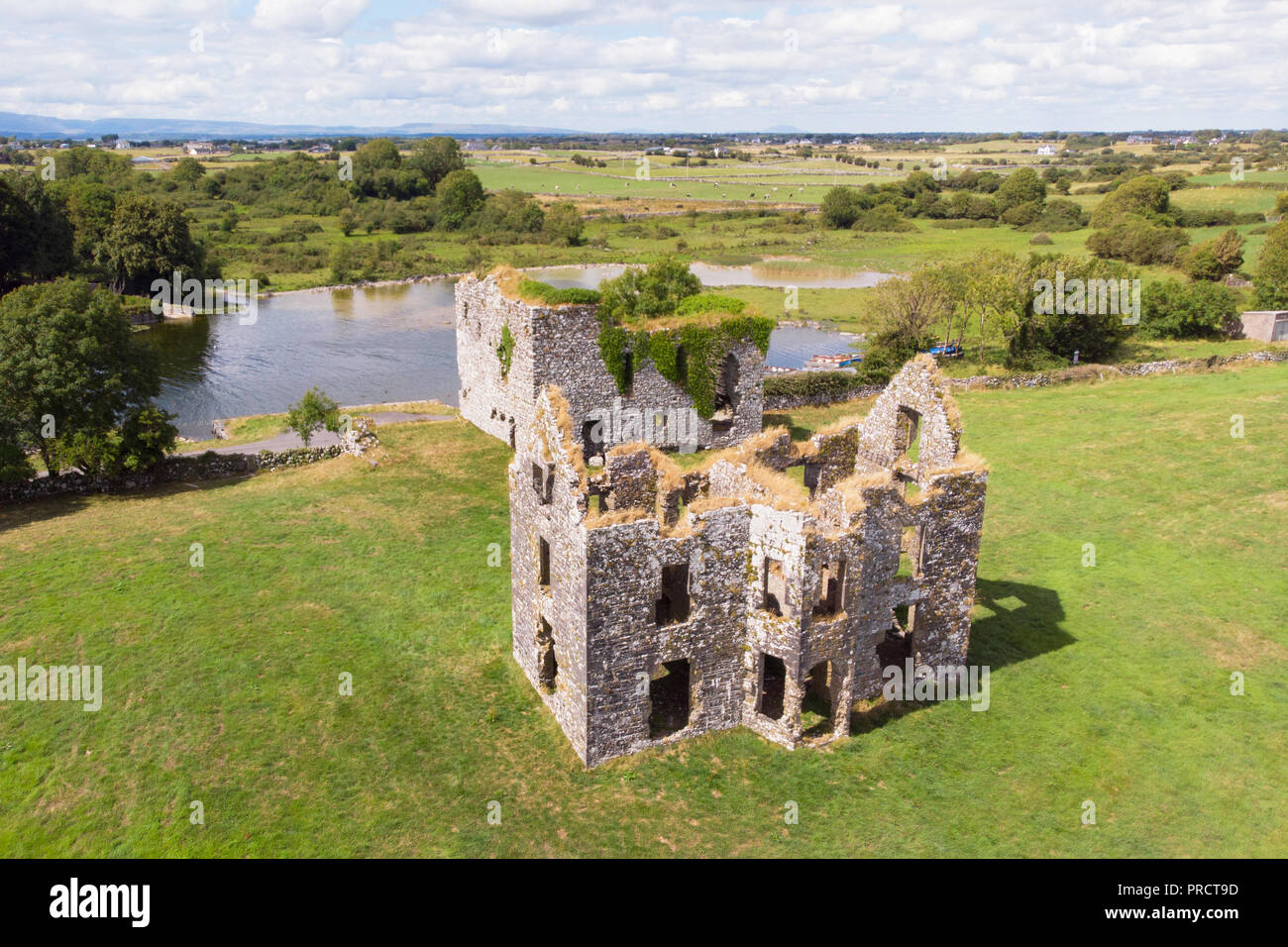 An aerial view of Annaghkeen Castle, situated next to Lough Corrib in County Galway, Ireland. Stock Photo