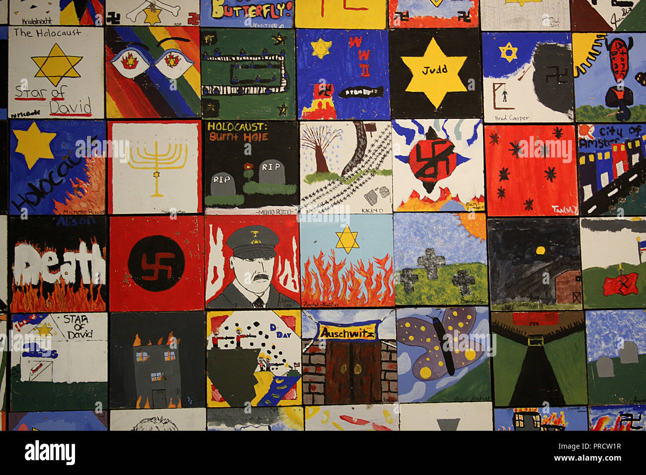 Students' artwork dealing with the theme of the Holocaust displayed  at Virginia Holocaust Museum in Richmond, VA - Stock Image