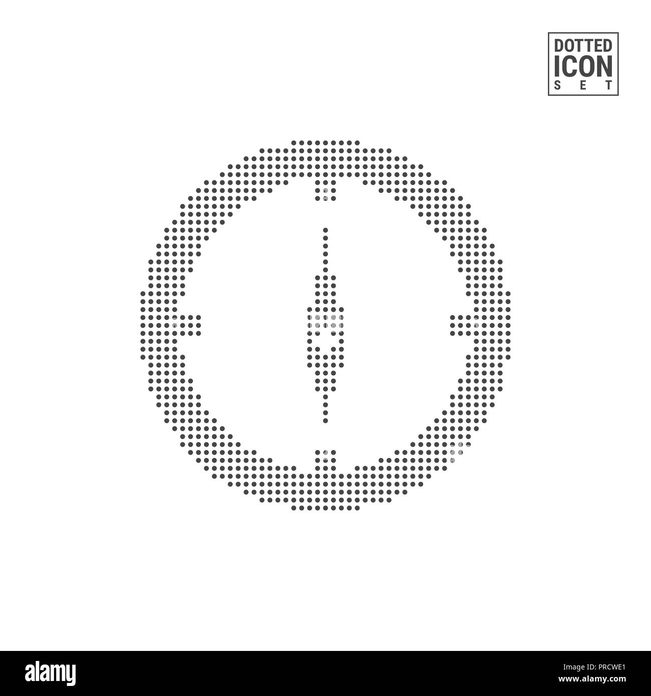 Compass Dot Pattern Icon. Navigation Dotted Icon Isolated on White Background. Illustration of Travel. Background for Banner, Certificate, Poster Desi - Stock Image