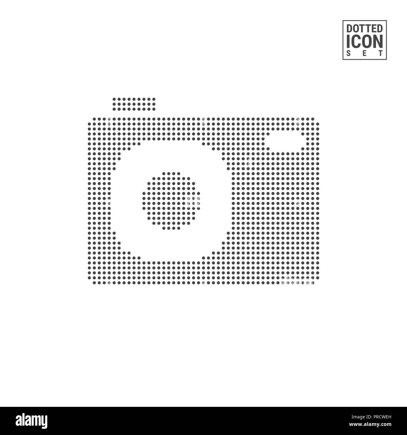 Photo Camera Dot Pattern Icon. Snapshot Dotted Icon Isolated on White Background. Illustration or Design Template. Can Be Used for Advertising, Web an - Stock Image