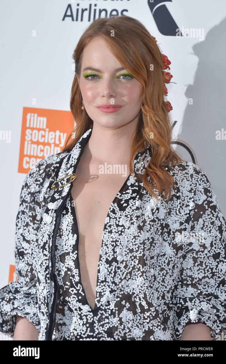 Emma Stone attends the opening night premiere of 'The Favourite' during the 56th New York Film Festival at Alice Tully Hall, Lincoln Center on Septemb - Stock Image