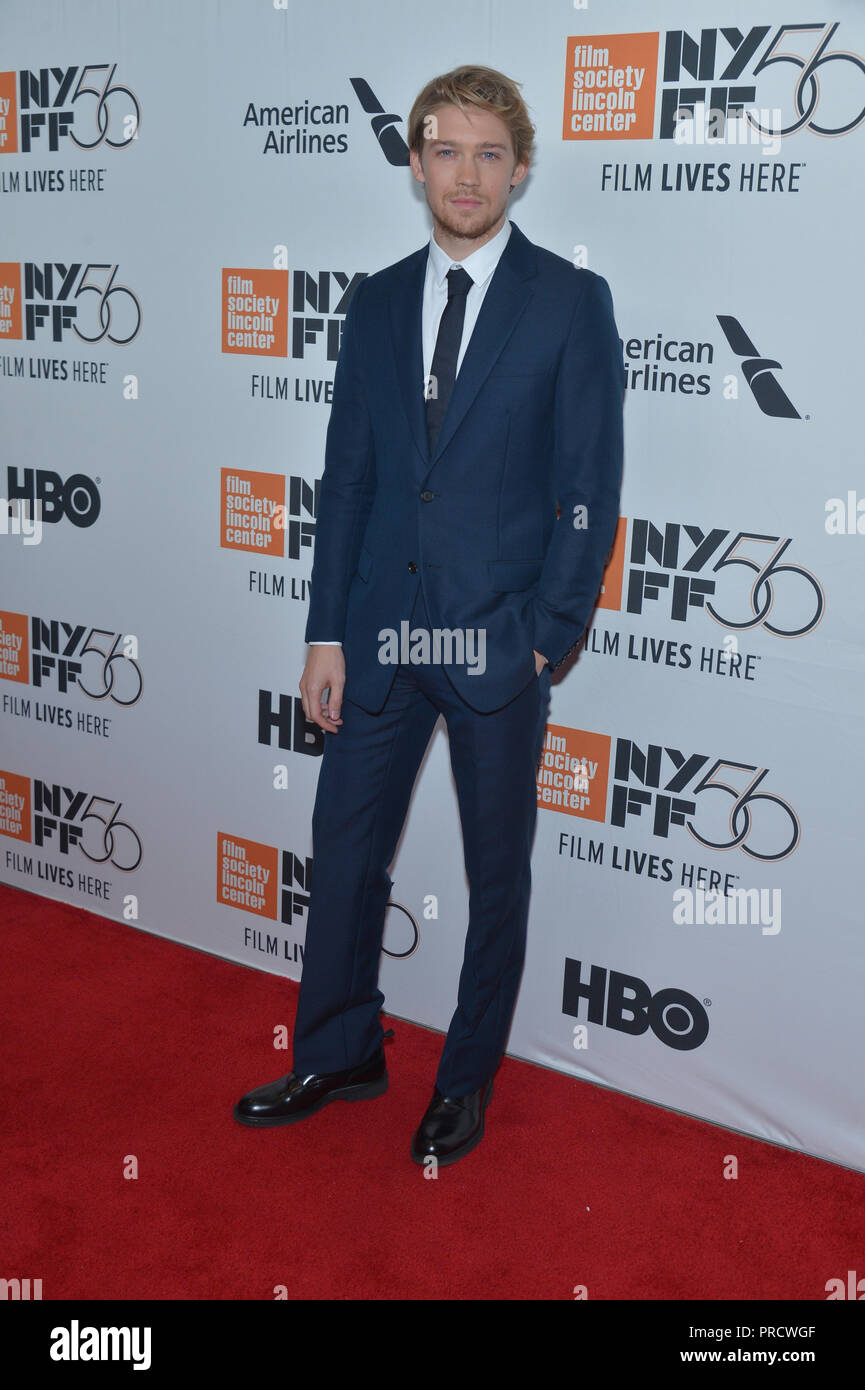 Joe Alwyn attends the opening night premiere of 'The Favourite' during the 56th New York Film Festival at Alice Tully Hall, Lincoln Center on Septembe - Stock Image