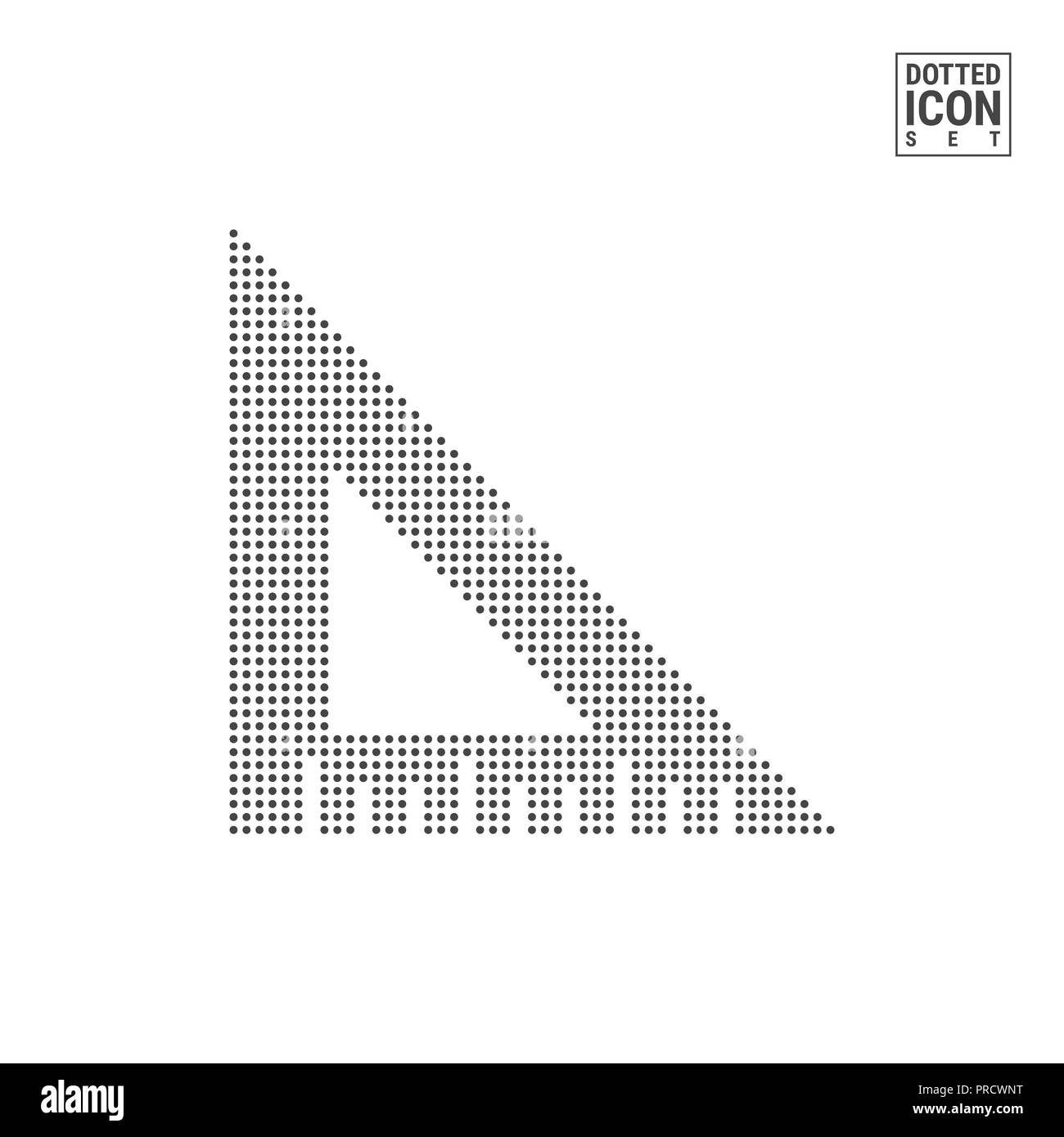 Angle Ruler Dot Pattern Icon. Engineering Dotted Icon Isolated on White. Background, Design Template. Can Be Used for Advertising, Web and Mobile UI. - Stock Image