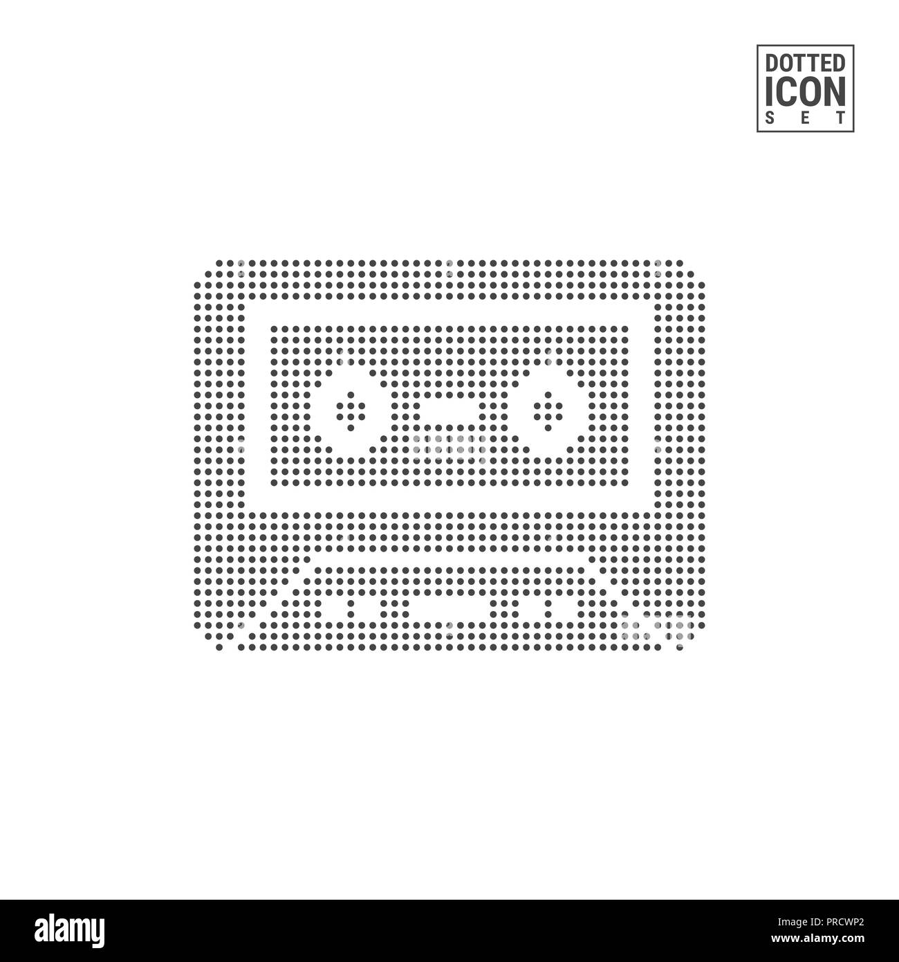 audio cassette dot pattern icon old music tape dotted icon isolated