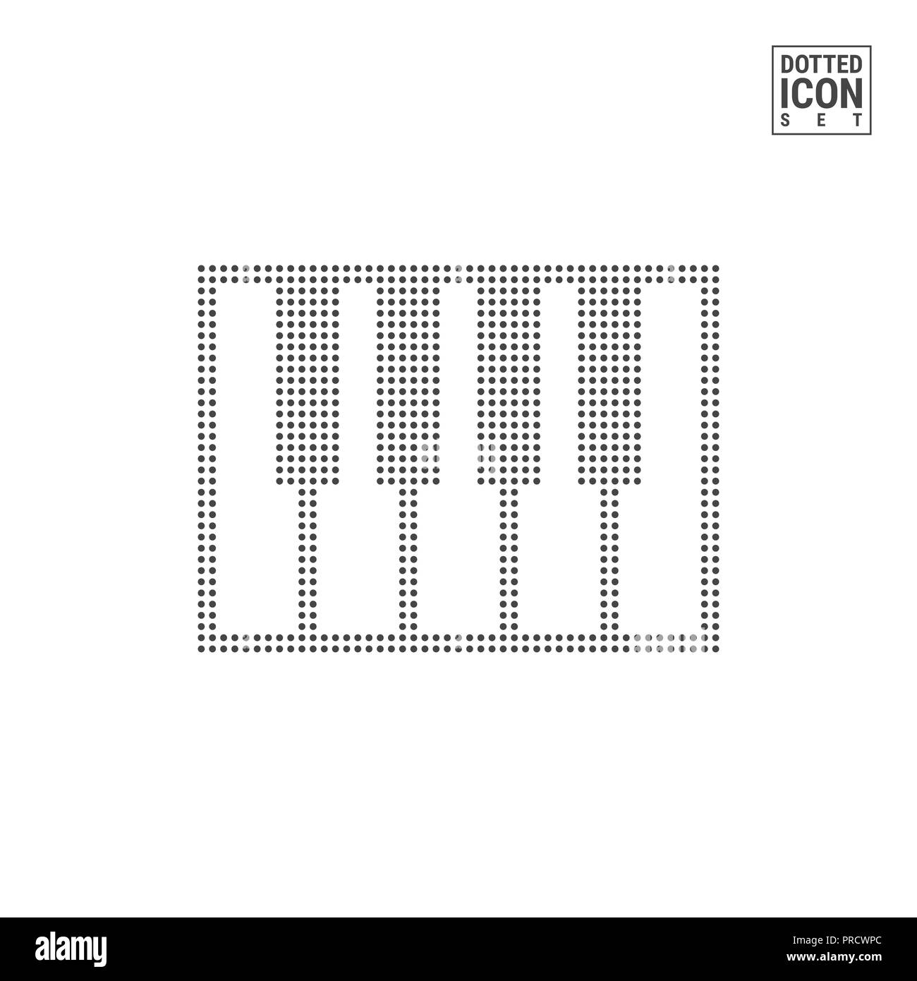 Piano Keys Dot Pattern Icon. Synthesizer, MIDI Keyboard Dotted Icon Isolated on White. Background, Design Template. Can Be Used for Advertising, Web a - Stock Image