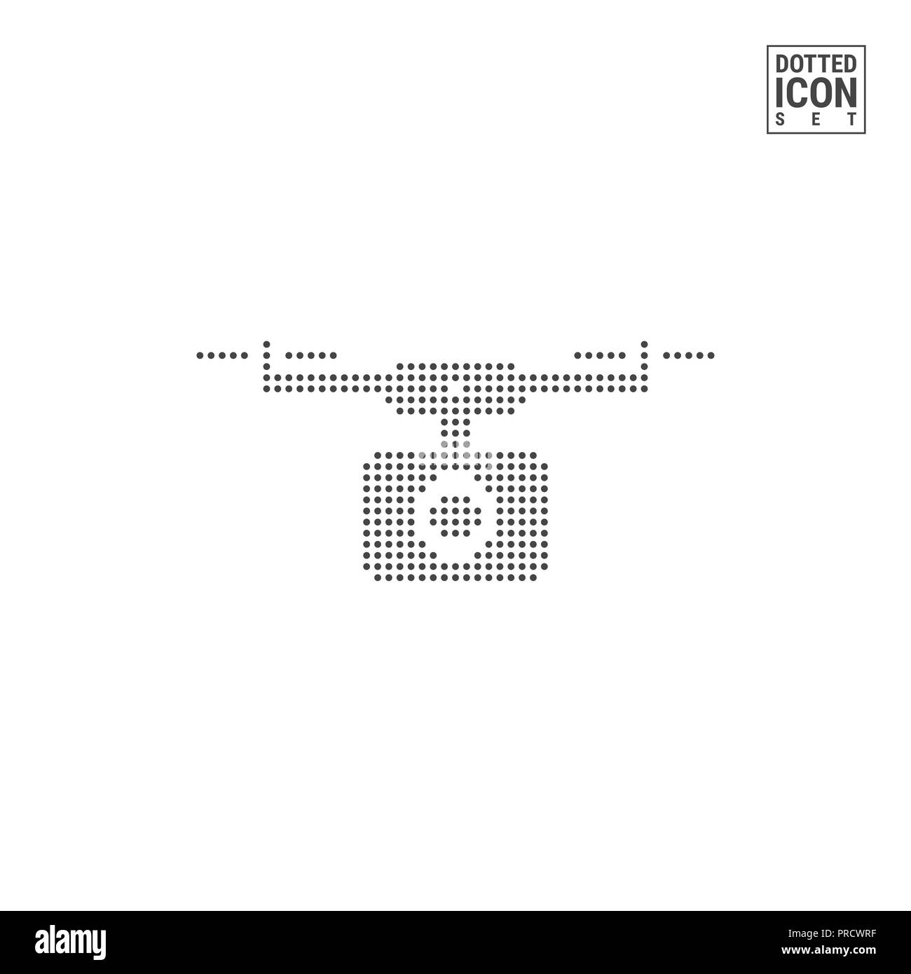 Quadcopter, Drone Dot Pattern Icon. Flying Camera Dotted Icon Isolated on White. Background, Design Template. Can Be Used for Advertising, Web and Mob - Stock Image