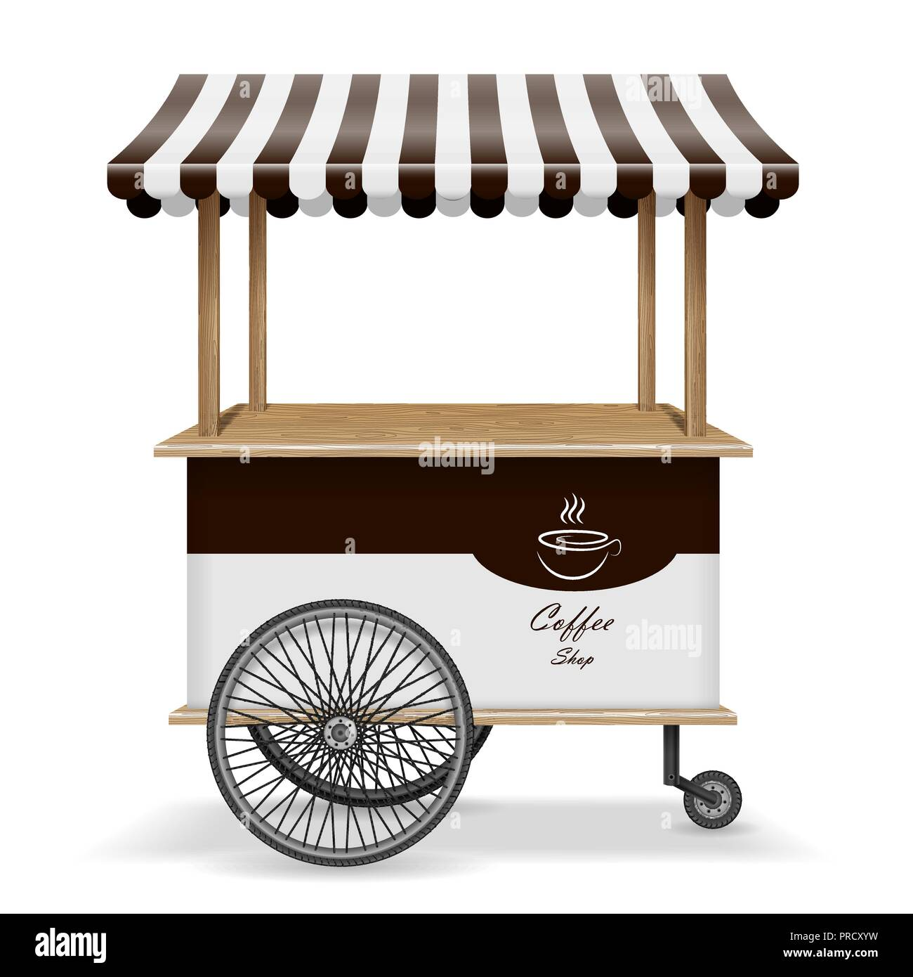 Realistic street food cart with wheels. Mobile coffee market stall template. Hot coffee kiosk store mockup isolated. Vector illustration Stock Vector