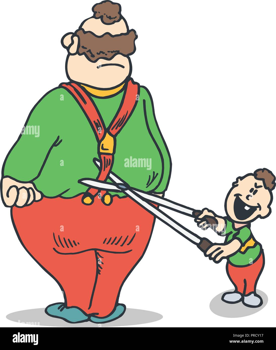 Dad and son jokes. Practical Jokes clipart concept. Illustration vector - Stock Image